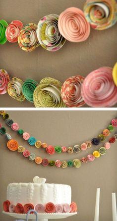 garlands of paper flowers Paper Flower Garlands, Diy Flowers, Paper Flowers, Cute Crafts, Diy And Crafts, Crafts For Kids, Arts And Crafts, Diy Paper, Paper Art