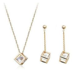 Cube inside CZ Diamond Crystals 18K Gold Plated Drop Earrings and Pendant Necklace Fashion Bride Wedding Jewelry Set | Price: US $2.29 | http://www.bestali.com/goto/1944042004/10
