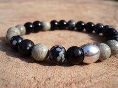 Black Obsidian Bracelet, Snowflake Obsidian Bracelet, Mens Bracelet, Womens Bracelet, Stretch Bracelet, Gemstone Bracelet, Beaded Bracelet by MakeMeSmileJewelry on Etsy https://www.etsy.com/ca/listing/180151572/black-obsidian-bracelet-snowflake