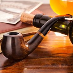 Scotte Tobacco Pipe Handmade Ebony Wood root Smoking Pipe Gift Box and Accessories (Black&A) Cigars And Whiskey, Pipes And Cigars, Tobacco Pipe Smoking, Tobacco Pipes, Smoking Pipes, Smoking Is Bad, Cool Pipes, Wooden Pipe, Cigar Shops