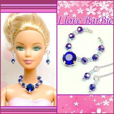 barbie doll jewelry set barbie blue Rhinestone and crystal necklace and earring