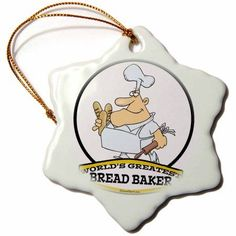 3dRose Funny Worlds Greatest Bread Baker Cartoon, Snowflake Ornament, Porcelain, 3-inch