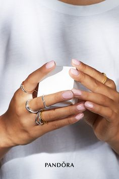 Express your personal style with our new Pandora wishbone rings shaped for stacking. Style the rings vertically or sideways or sport them as minimalist midi-rings. New Pandora, Pandora Rings, Pandora Jewelry, Prom Nails, Fun Nails, Cool Nail Designs, Ring Designs, Charms Disney, Mochi