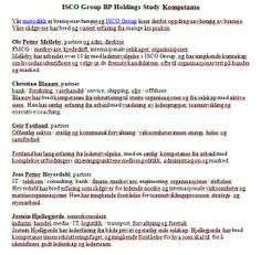 ISCO Group BP Holdings Study Kompetanse