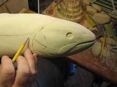 Wood Carving Tutorial - Page 3 - WetCanvas Fish Wood Carving, Wood Carvings, Ship Figurehead, Brown Trout, Cylinder Shape, Wood Burner, Pear Shaped Diamond, Whittling, Fish Art
