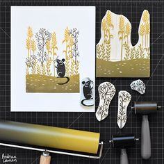 Andrea Lauren (@inkprintrepeat) | Carving and printing a harvest mouse scene this morning | Intagme - The Best Instagram Widget