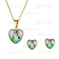 juego collar y aretes de piedra forma corazon con princesa elsa&anna en acero dorado inoxidable -SSNEG053906