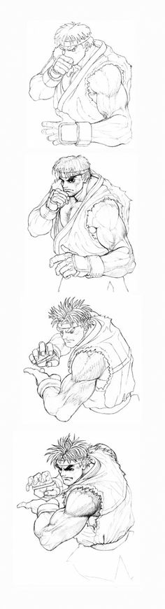 This sequential piece of art of Ryu performing a Hadouken was the basis for the opening animation of Super Street Fighter II™. It was the first game since the original Street Fighter II™ that utilized completely new and more powerful hardware. This allowed for new graphics and more complex animations and the old Street Fighter II opening screen got replaced therefore with this new, more characteristic one of Ryu performing his trademark move. The illustration has been made by Akiman.