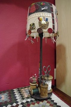 . Lampshade Chandelier, Lampshade Redo, Beaded Chandelier, Sewing Room Decor, Sewing Rooms, Homemade Crafts, Diy And Crafts, Clay Fairy House, Home And Deco