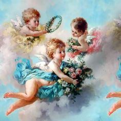 Angel Aesthetic, Blue Aesthetic, Shabby Chic Romantique, Cherub Tattoo, Angel Wallpaper, Fabric Wallpaper, Angel Drawing, Angel Pictures, Angel Images