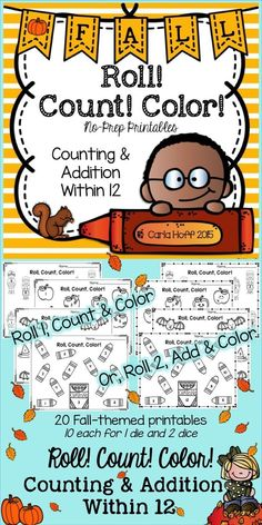 Fall-themed printables for counting and addition within 12.  Children roll one or two dice (two levels of play) and color (or cover!) the corresponding object!  Perfect for independent work, centers, or homework!  Themes:  School, Fall, Halloween, Thanksgiving.