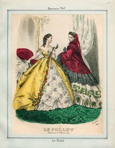 In the Swan's Shadow: Le Follet, January 1865.  Civil War Era Fashion Plate