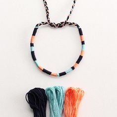 Your place to buy and sell all things handmade - Items op Etsy die op Embroidery thread bracelet, multi color friendship bracelet, Color Block, brai - Embroidery Thread Bracelets, Yarn Bracelets, Bracelet Crafts, Ankle Bracelets, String Bracelets, Braided Bracelets, Homemade Bracelets, Diy Bracelets Easy, Summer Bracelets