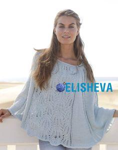 Красивое пончо для женщин с кружевным узором. Бесплатная схема с фото вязания спицами | Блог elisheva.ru