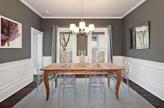 Warm charcoal black and white dining room