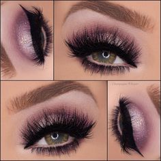 Pinks and mauves with glitter #glittermakeup #makeupartist #falselashes #browneyes