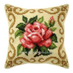 Buy+Regal+Red+Rose+Cushion+Front+Chunky+Cross+Stitch+Kit+Online+at+www.sewandso.co.uk