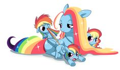 RAINBOW FAMILY  by ~EQUESTRiABOY  My Little Pony Mane 6 Rainbow Dash with her family. Link: http://equestriaboy.deviantart.com/art/RAINBOW-FAMILY-253667639