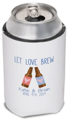 Let Love Brew Wedding Favor Koozies by yourethatgirldesigns, koozies, wedding koozies, can coolers, bottle koozies, koozys, www.yourethatgirldesigns.com