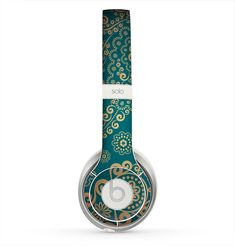 The Green & Gold Lace Pattern Skin for the Beats by Dre Solo 2 Headphones