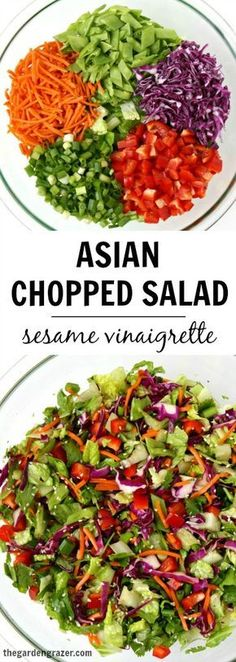 SO GOOD!! Asian Chopped Salad with easy sesame vinaigrette. Add slivered almonds for the perfect crunch! | thegardengrazer.com | #vegan #gf