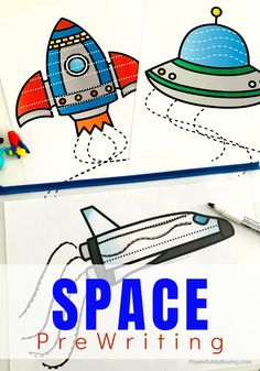 Launching Into Outer Space Prewriting Kindergarten Lesson Plans, Preschool Learning, Kindergarten Activities, Toddler Preschool, Space Activities, Hands On Activities, Craft Activities For Kids, Preschool Ideas, Teaching Ideas