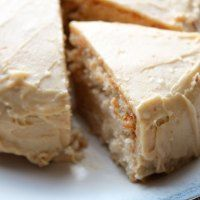 Vanilla Protein Cake with Peanut Butter Frosting [w/ vegan options]