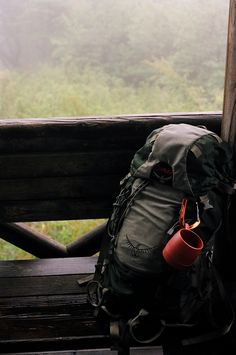Backpacking. That's pretty similar to my pack. I just need that mug!