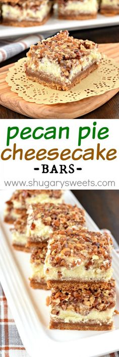 Incredibly delicious Pecan Pie Cheesecake Bars are the perfect recipe for your holiday dessert table! A graham cracker crust topped with cheesecake and caramely pecan pie makes this a showstopper dessert recipe!