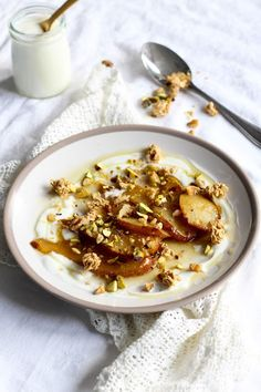 The Spoon and Whisk: Spiced Pears with Honey, Nuts, Granola and Yoghurt