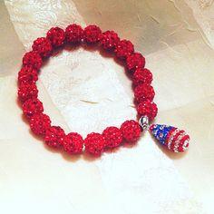 Crystal USA Flag Bracelet Patriotic Stars and Stripes Handmade