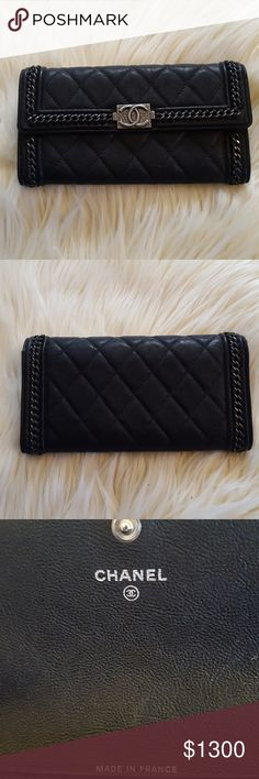 Chanel Boy Quilted Wallet Like New! Gently used Authentic Chanel Boy Black Quilted Wallet Shows Norms Signs of Wear This item is gently used and shows minimal signs of visible wear and(shows overall exterior and interior areas show light fading in different places). Please see attached photos to accurately assess the physical condition of this item. No Dust Bag or Box. CHANEL Bags Wallets