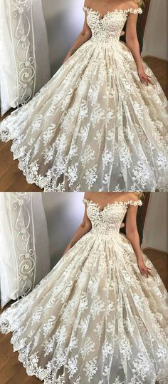 off the shoulder wedding dresses, glamorous wedding gowns with appliques,