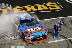At-track photos: Friday, Texas Friday, April 8, 2016 FORT WORTH, TEXAS - APRIL 08: Kyle Busch, driver of the No. 18 NOS Energy Drink Toyota, celebrates winning the NASCAR XFINITY Series O'Reilly Auto Parts 300 at Texas Motor Speedway on April 8, 2016 in Fort Worth, Texas.