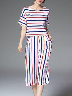 Multicolor Printed Short Sleeve Stripes Jumpsuit