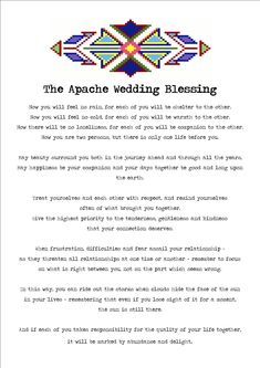 Reading Apache Wedding Blessing