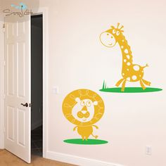 Liven up a nursery or child's room with our Lion and Giraffe vinyl decals; part of our Playful Jungle Pals collection.  These animated animals will add a little life to undecorated walls and a lot of fun for your little one.