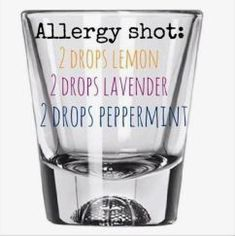 Add 2 drops of each doterra essential oil, add water, take a shot. I refill the glass with water and drink again to make sure all the oils are ingested. Take times a day. Essential Oils Allergies, Essential Oil Diffuser Blends, Doterra Oils, Doterra Essential Oils, Doterra For Allergies, Uses For Essential Oils, Essential Oils Hemorrhoids, Bug Bite Essential Oil, Essential Oil For Bruising