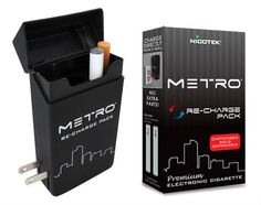 On-the-Go case has a smooth non-slip rubberized finish for that stores a Metro E-cigs, up to 3 cartridges, and may be used to recharge a battery