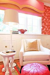 Love the wall paper in this room. #pink #baby #nursery