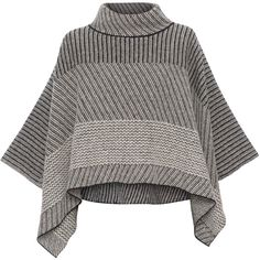 Piazza Sempione Black And White Novelty Knit Poncho Sweater ($1,095) ❤ liked on Polyvore featuring tops, sweaters, outerwear, jackets, prints, turtleneck poncho, long sleeve knit sweater, long sleeve turtleneck, knit poncho sweater and black and white sweater