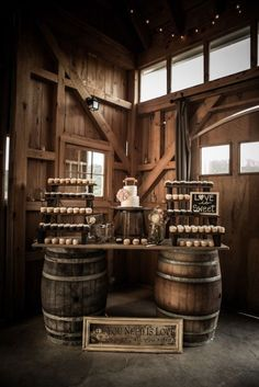 rustic wine barrels and yammy cupcakes