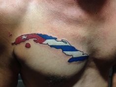 Chest tattoo of the island of Cuba with flag