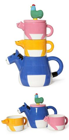 Farm animals tea for two set // donkey, dog, cat, and chicken! #product_design