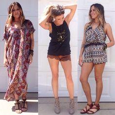 //Summer Faves\\ •Gypset Kaftan Dress $48 •Leon Suede Shorts $30 •Summer Lovin Romper $36 FREE SHIPPING TILL MIDNIGHT <use code: love wins> www.thesoulfulgypsy.com