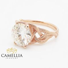 3.8CT Moissanite Twig Engagement Ring 14K Rose Gold Branch