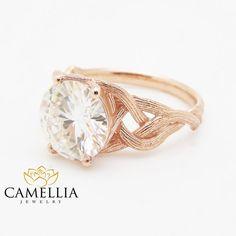3.8CT Moissanite Twig Engagement Ring 14K Rose Gold Branch