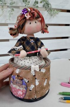 Table Storage, Bag Storage, Birthday Clown, Red Hair Doll, Doll Patterns Free, Fabric Boxes, Sewing Dolls, Doll Maker, Waldorf Dolls
