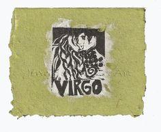 Virgo card, lino print on handmade paper by Jennifer Kunin www.etsy.com/shop/JenniferKuninStudio
