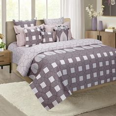 Buy this Dove Geometric Print Zinnia Bed in a Bag Set Online at the best prices. #bedsheetset #bedfittedsheets #beddingsetsonline #cottonbeddingsets #acbeddingsets #summerbeddingsets Bed Sheets Online, Bedding Sets Online, Wooden Street, Fitted Bed Sheets, Queen Sheets, Cotton Bedding Sets, Bed In A Bag, Amazing Spaces, Bedding Shop